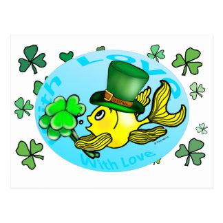 IRISH LUCK GOLDFISH wearing hat and shamrocks cute Postcard