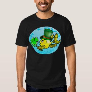 IRISH LUCK GOLDFISH wearing hat and shamrocks cute T Shirt