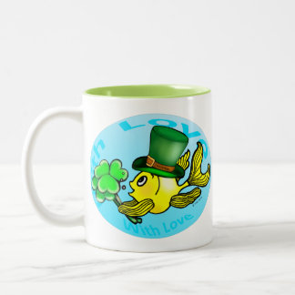 IRISH LUCK GOLDFISH wearing hat and shamrocks cute Two-Tone Coffee Mug