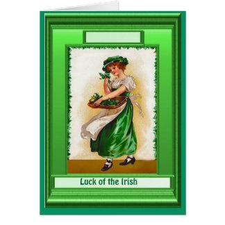 Irish Luck, Irish colleen with shamrocks Card