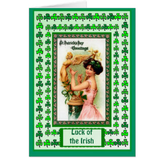 Irish Luck, Irish harpist in pink Card