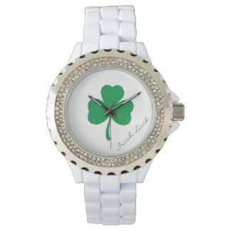 Irish Luck Rhinestone Watch with White Bracelet