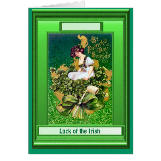 Irish Luck,  Sitting in the shamrocks Card