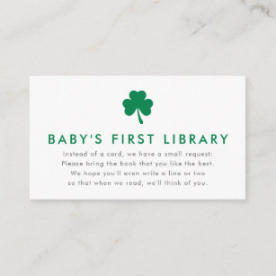 56a801b0 Irish Lucky Charm Books for Baby's First Library Enclosure Card