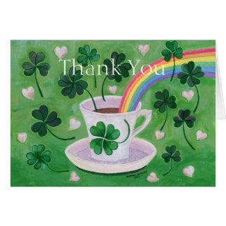 Irish Lucky Coffee Cup painting Card