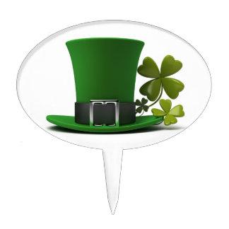 Irish Lucky Green Leprechaun Hat and Shamrock Cake Topper