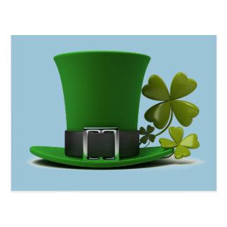 Irish Lucky Green Leprechaun Hat and Shamrock Postcard