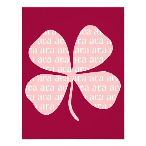 Irish Lucky Pink Shamrock Ava Personalized Announcements