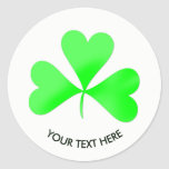Irish Lucky Shamrock Leaf Personalized Classic Round Sticker
