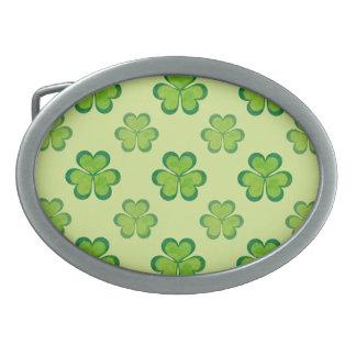 Irish Lucky Shamrocks Clovers Seamless Pattern Belt Buckle