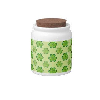 Irish Lucky Shamrocks Clovers Seamless Pattern Candy Jar