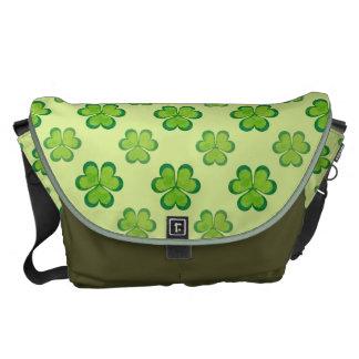 Irish Lucky Shamrocks Clovers Seamless Pattern Messenger Bag