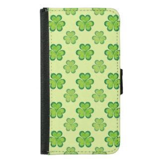 Irish Lucky Shamrocks Clovers Seamless Pattern Wallet Phone Case For Samsung Galaxy S5