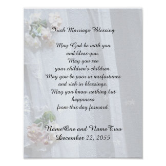 "Irish Marriage Blessing 11"" x 14"" Vintage Lace Poster"