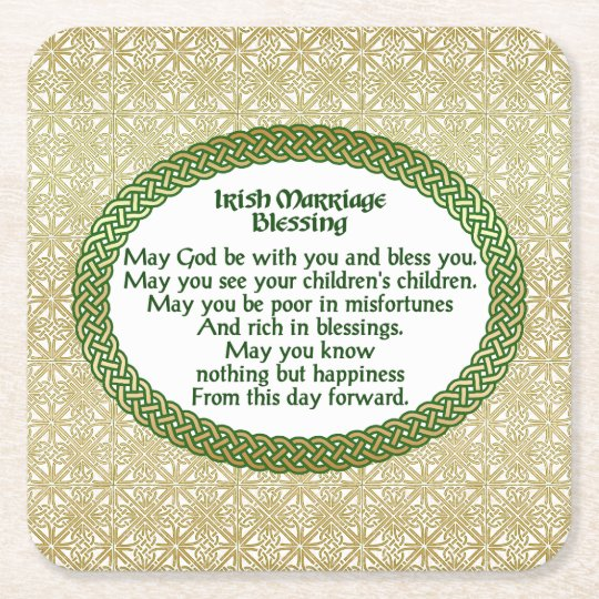 Irish Marriage Blessing Gold Green Wedding Square Paper Coaster