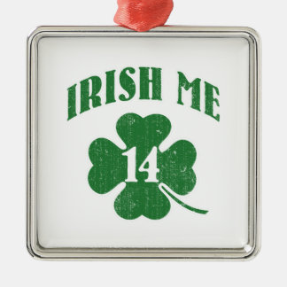Irish me, lucky me shamrock metal ornament
