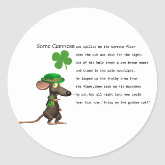 Irish Mouse drinking beer Classic Round Sticker