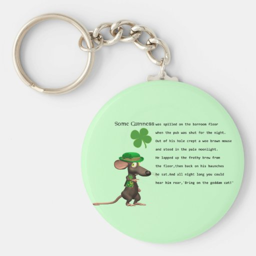 Irish Mouse drinking beer Key Chains