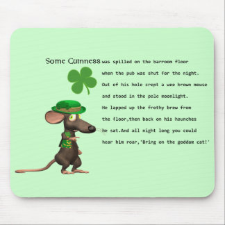 Irish Mouse drinking beer Mouse Pad