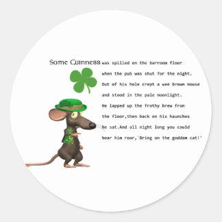 Irish Mouse drinking beer Classic Round Sticker