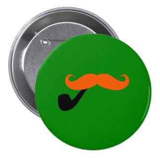 Irish Mustache and Pipe Pinback Button