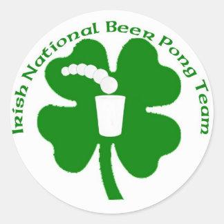 irish National Beer Pong Team Classic Round Sticker