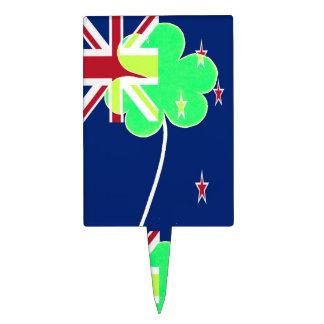 Irish New Zealand Flag Shamrock Clover St. Patrick Cake Topper
