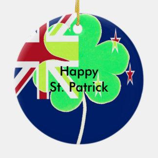 Irish New Zealand Flag Shamrock Clover St. Patrick Ceramic Ornament