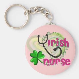 Irish Nurse Artsy Heart Gifts Basic Round Button Keychain