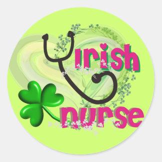 Irish Nurse Artsy Heart Gifts Classic Round Sticker