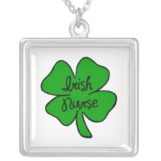 Irish Nurse Square Pendant Necklace