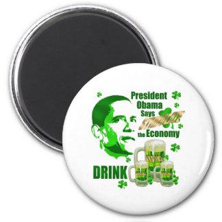 Irish Obama Drink Beer Stimulus Gifts 2 Inch Round Magnet