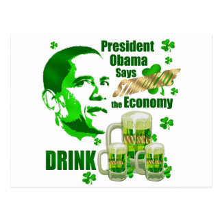 Irish Obama Drink Beer Stimulus Gifts Postcard