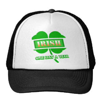 Irish One Day A Year With 4-Leaf Clover, Angled Mesh Hats