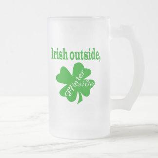 Irish outside flinter inside frosted beer mug