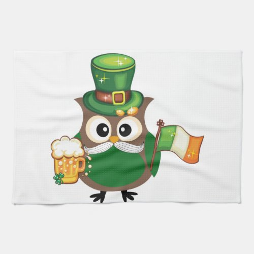Irish Owl for St. Patrick's Day Kitchen Towel