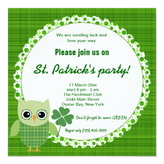 Irish Owl 5.25x5.25 Square Paper Invitation Card