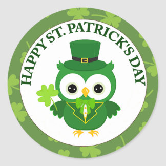 Irish Owl with Shamrock Sticker