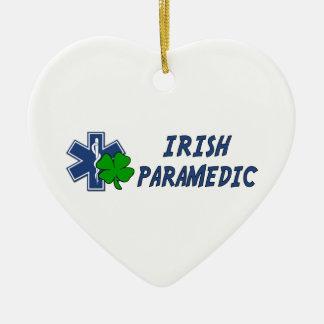 Irish Paramedic Double-Sided Heart Ceramic Christmas Ornament