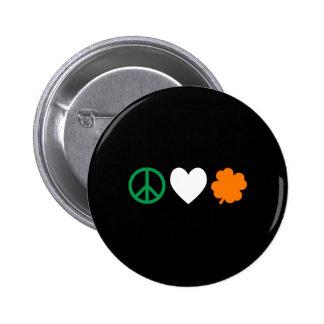 Irish Peace Love & Shamrocks Button