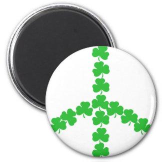 Irish peace shamrock 2 inch round magnet