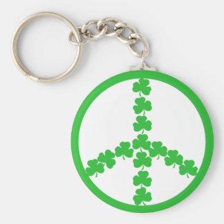 Irish peace shamrock basic round button keychain