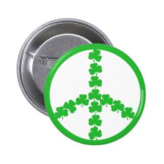 Irish peace shamrock 2 inch round button