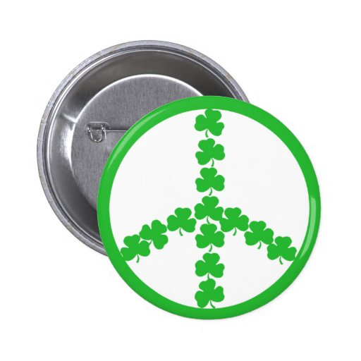 Irish peace shamrock button
