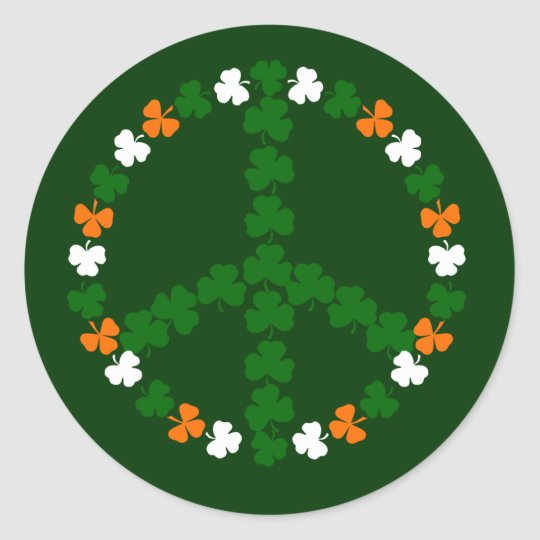 Irish peace sign classic round sticker