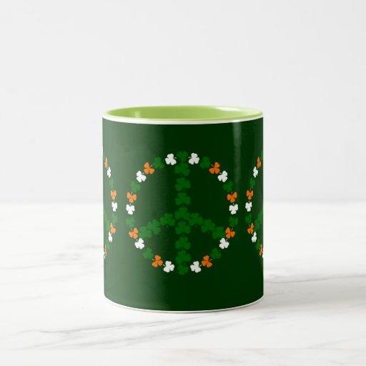 Irish peace sign Two-Tone coffee mug