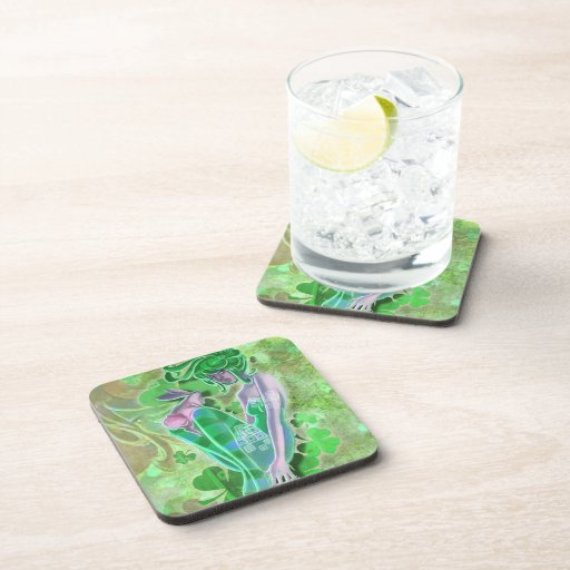 Irish Pinup Lady Cork Coaster Drink Coaster