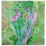 Irish Shamrock Irish Pinup Lady Napkins