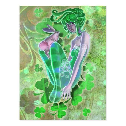 Irish Pinup Lady Postcard