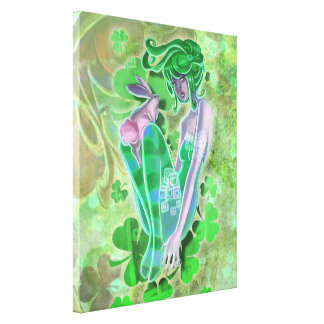 Irish Pinup Lady Stretched Canvas Print Gallery Wrap Canvas